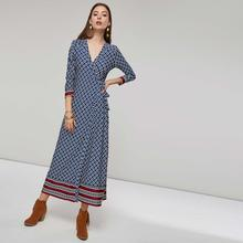 Women Maxi Dresses Casual Boho Vintage Straight High Waist Floral Print Female Fashion Sweet Elegant Ethnic Blue Long Dress(China)