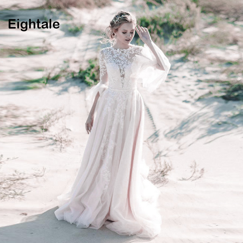 Eightale Muslim Wedding Dress 2019 O-Neck Long Sleeves Arabic Dubai Bride Dress Custom Made Lace Cheap Backless Wedding Gowns