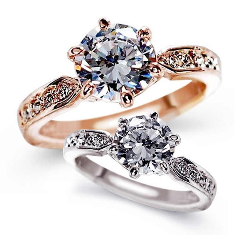 LNRRABC zircon แหวนหมั้นหญิงรุ่น rose gold แหวนคริสตัลเครื่องประดับคุณภาพสูง