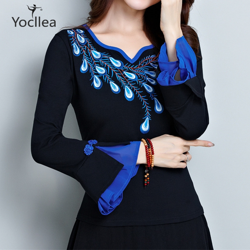 Plus size 5XL t shirt lady summer t shirt women new arrivals spring autumn Peacock Embroidery Petal sleeve Tops Cotton Tees