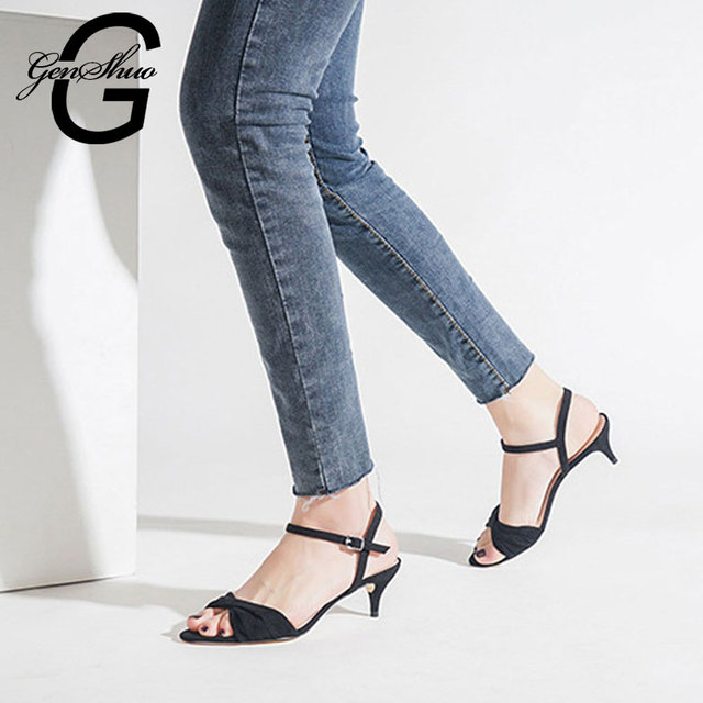 GENSHUO Office Ladies Shoes Kitten Heels Pointy Open Toe Summer Buckle Sandals Concise Sweet Ladies Shoes Sandalias Mujer Zapato