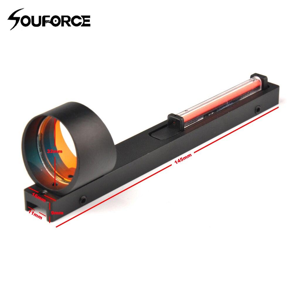Mira com Ponto Escopo de Mira Preto com Fibra Vermelha para Espingarda Trilho de Rib para Tiro de Caça Vermelho Holográfico 1×25