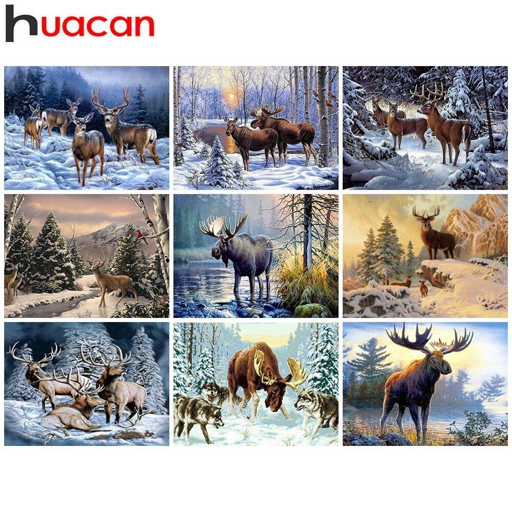Huacan Diamond Painting Deer 5D Diy Diamond Embroidery Animal Home Decoration Picture Mosaic Rhinestone Paintings Gift