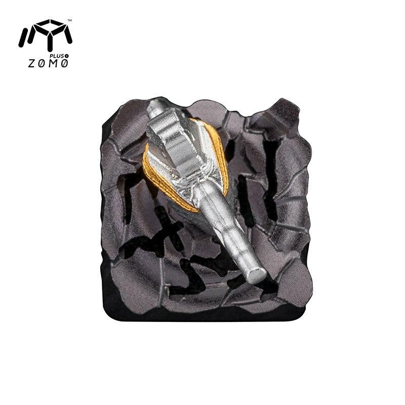 1 pc ZOMO pierre marteau aimant séparation personnalité originale bouchon de clé plein métal translucide mécanique clavier Keycap - 5