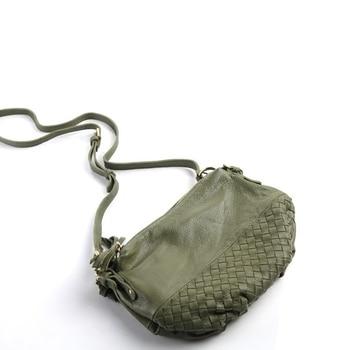 Women Hobos Messenger Bag Solid Zipper Genuine Leather Soft Handbag Mini Female Clutch Pure Crossbody Shoulder Bag Feminina