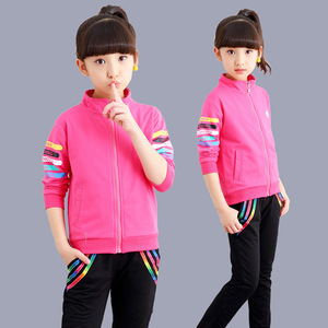 Image 5 - 5 kleur Meisjes jas en broek tweedelige Sets Mode Brief streep print Sport pak herfst kleding voor meisjes kleding set