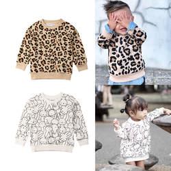 Детский свитер детский Леопардовый кролик печати свитера Одежда для маленьких мальчиков и девочек модная симпатичная одежда для
