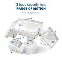 3 kopf LED Sicherheit Lichter Bewegung Außen Motion Sensor Licht Outdoor 42W 3000 Lumen 6000k Wasserdichte Motion Sensor