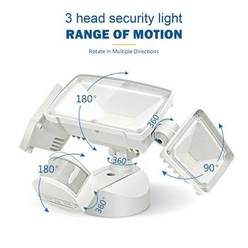 3 Head LED Security Lights Motion Outdoor Motion Sensor Light Outdoor 42W 3000 Lumens 6000k Waterproof  Motion Sensor