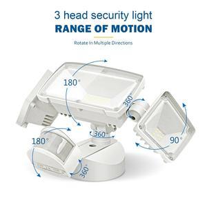Image 2 - Luz de segurança do diodo emissor de luz 42w sensor de movimento ao ar livre luz de segurança 3 cabeças luz de inundação à prova dwaterproof água 3000lm 6000k iluminação ajustável