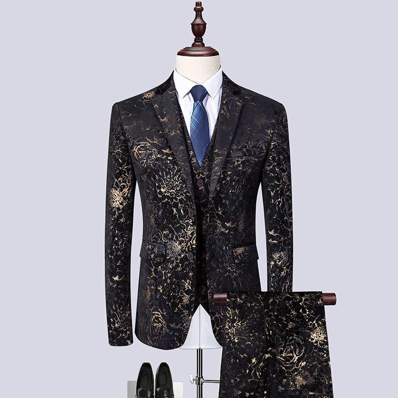 3piece Suit Men Tuxedo Fashion 2019 Golden Print Slim Fit Dress Suits Men Night Club Singer Stage Costume Homme Plus Size 6XL