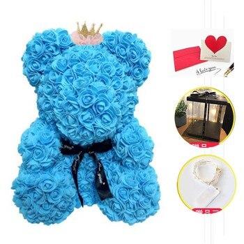 장미 곰 led 상자 웨딩 파티 장식 발렌타인 데이 선물 귀여운 만화 슈퍼 여자 친구 아이 선물 사랑 곰 선물