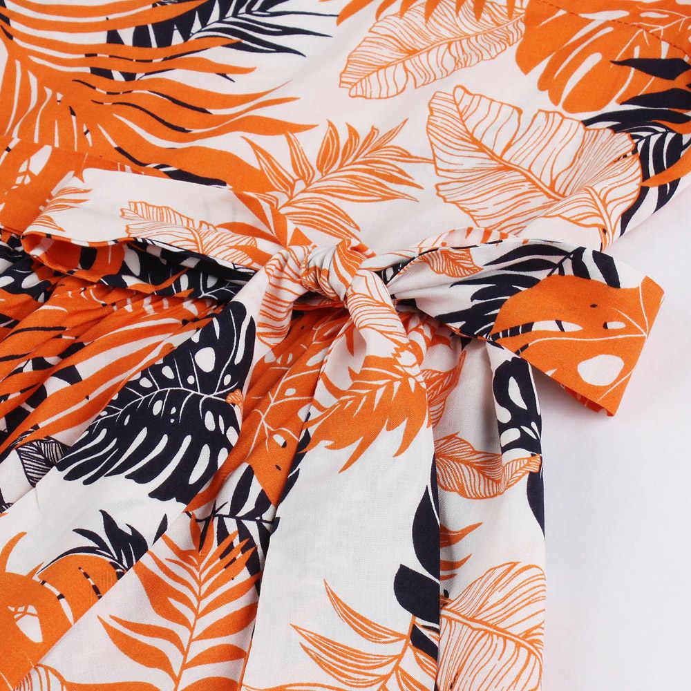 Joineles Leaf Print Summer Women Bodycon Vintage Dress Belts Orange 100%Cotton Retro Dress Party Vestidos De Festa Audrey Dress