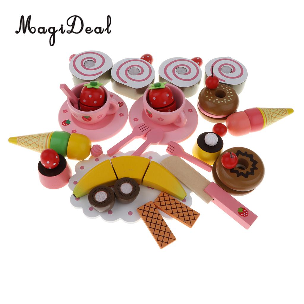 Wooden Strawberries Cake Tea Party Playset - Fruit Cake Tableware Set Kitchen Pretend Play Game Cutting Toy Educational - 33pcs