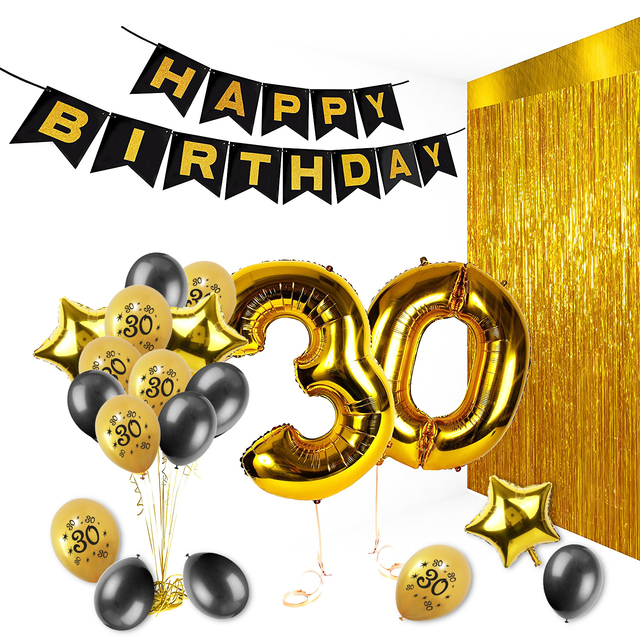 Amawill 27pcs Set Happy 30th Birthday Party Decorations Adlut Gold Number Foil Balloons 30 Years Anniversary Supplies 75D