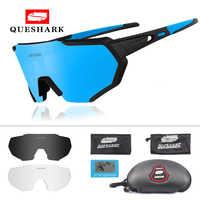 QUESHARK 2019 nouveau Design lunettes de cyclisme polarisées pour homme femmes lunettes de vélo cyclisme lunettes de soleil 3 lentille miroir UV400 lunettes