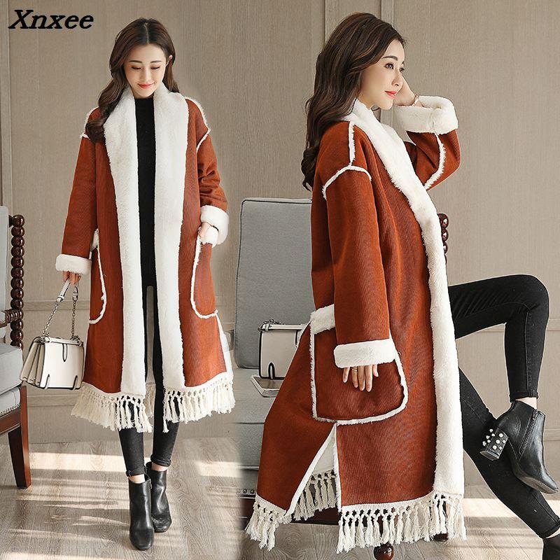여성 양 양모 코트 겨울 두꺼운 따뜻한 느슨한 술 긴 가짜 스웨이드 가죽 shearling 재킷 코트 캐주얼 여성 겉옷-에서인조 퍼부터 여성 의류 의  그룹 1