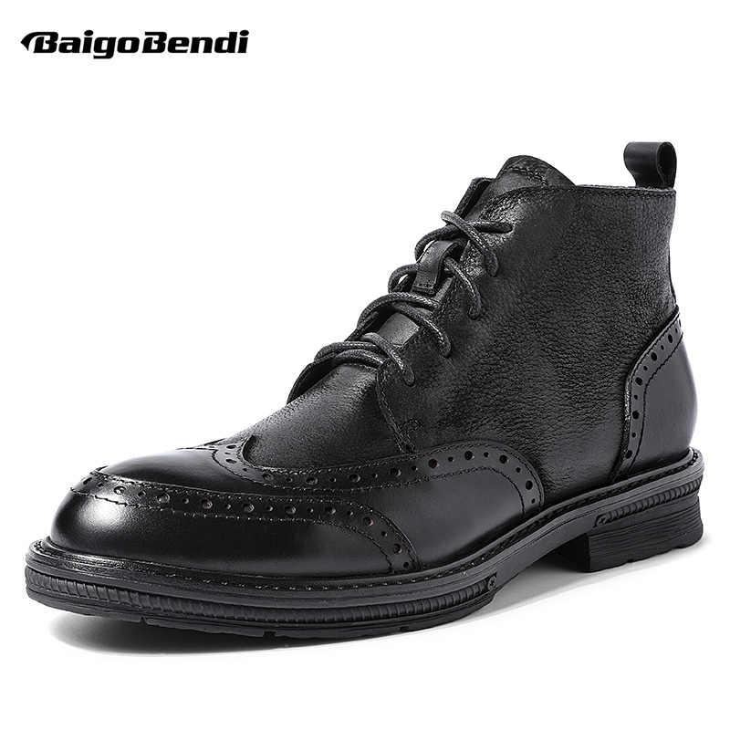 Zapatos Retro Brogue para hombre, botas de punta de ala de trabajo libre, botas de cuero de grano completo con cordones, botas de montar de invierno, novedad de cuatro estaciones