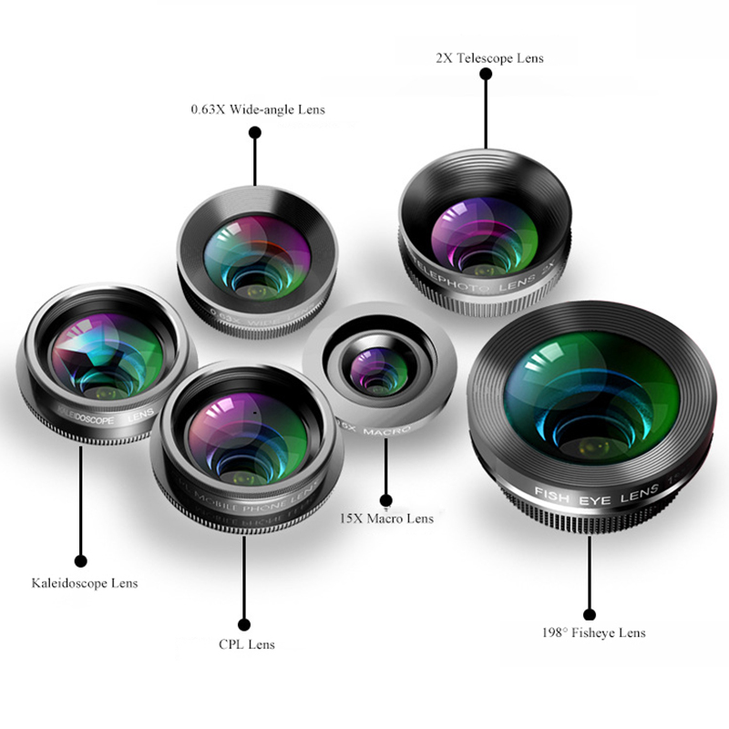 Image 2 - Phone Camera Lens,6 In 1 Cell Phone Lens Kit For Iphone And Android, Kaleidoscope Wide Angle+Macro Cpl Fisheye Telephoto Zoom-in Camera Lens from Consumer Electronics