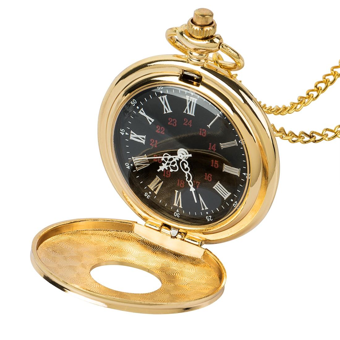 Golden Men Women Pocket Watch Full Double Hunter Mechanical Pocket Watches Engraved Roman Numerals Gold Hand Wind Pocketwatch