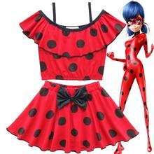 cd141d23c 2019 mariquita vestido de verano de las niñas de verano de los niños traje  de baño conjunto de dibujos animados Lady Bug Rojo Ne.