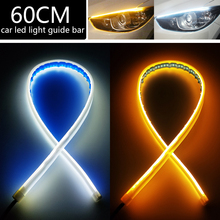 2PCS 60cm White Amber DRL Car LED Light Strip Running Turn Signal Lamp Angel Eye Headlight Daytime