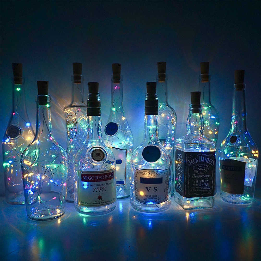 Christmas String Lights.20 Led Wine Jar Bottle Lights Cork Battery Powered Starry Diy Christmas String Lights For Party Halloween Wedding Decoracion
