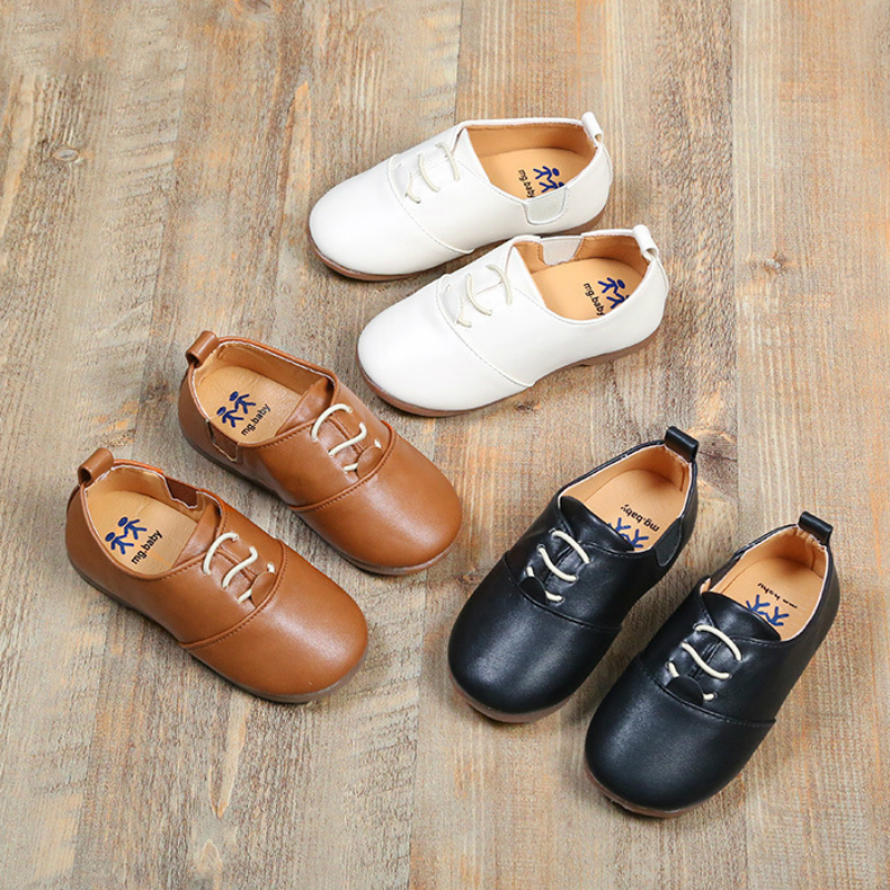 Kids Shoes Leather Slip On Children's Shoes Baby Boys Leather Soft British Style Beanie Casual Shoes For Baby Girl And Children
