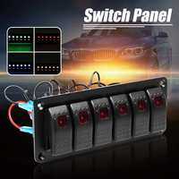 6 Gang Switch Panel Waterproof 12V 24V Car Auto Boat Marine Dual LED Light Bar Rocker Switch Panel Universal
