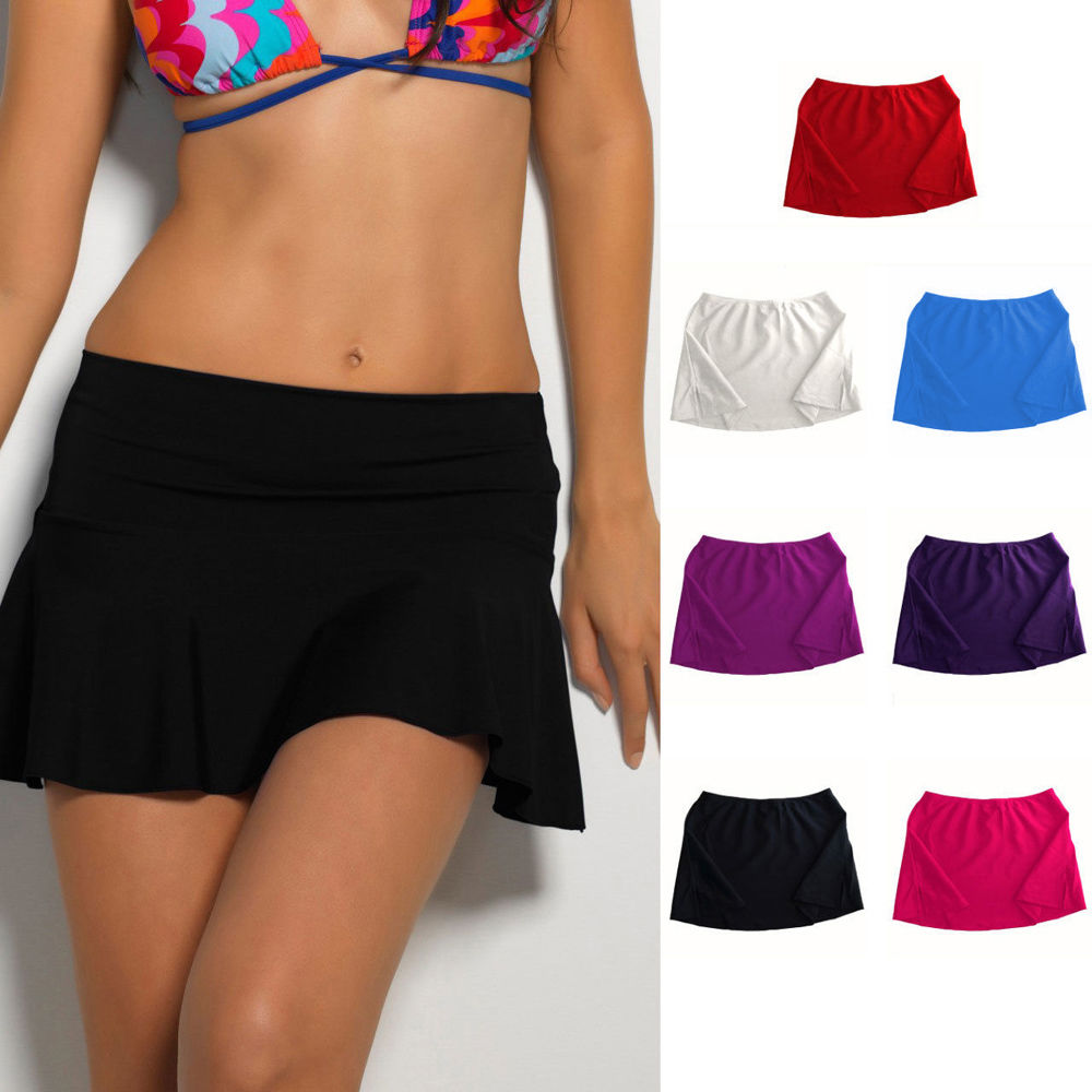 Women Swim Cover Up Bikini Swimwear Swim Short Skirt Bikinis Chiffon Beach Mini Dress 3 Colours