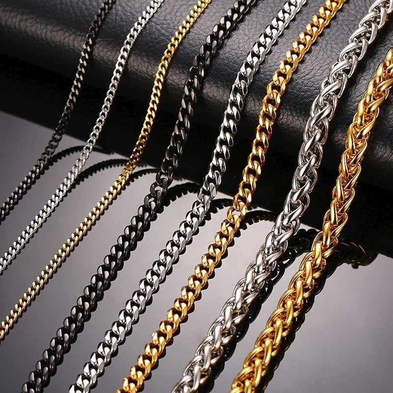 Vnox 30 Inch Long Curb Link Chain Necklace Stainless Steel Miami Cuba Wheat Spiga Chains Male Jewelry Assorted Colors
