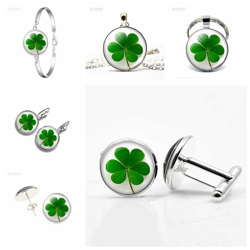 Fashion Shamrock Four Leaf  Clover Hook Earrings Women Girls Accessories Pendant Jewelry Christmas Gift Rings