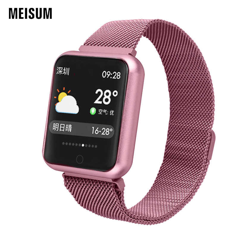 044260860ab MEISUM 2019 Fashion Sports Smart Watch P68 Fitness Bracelet Blood Pressure  Heart Rate Monitor Woman Pink