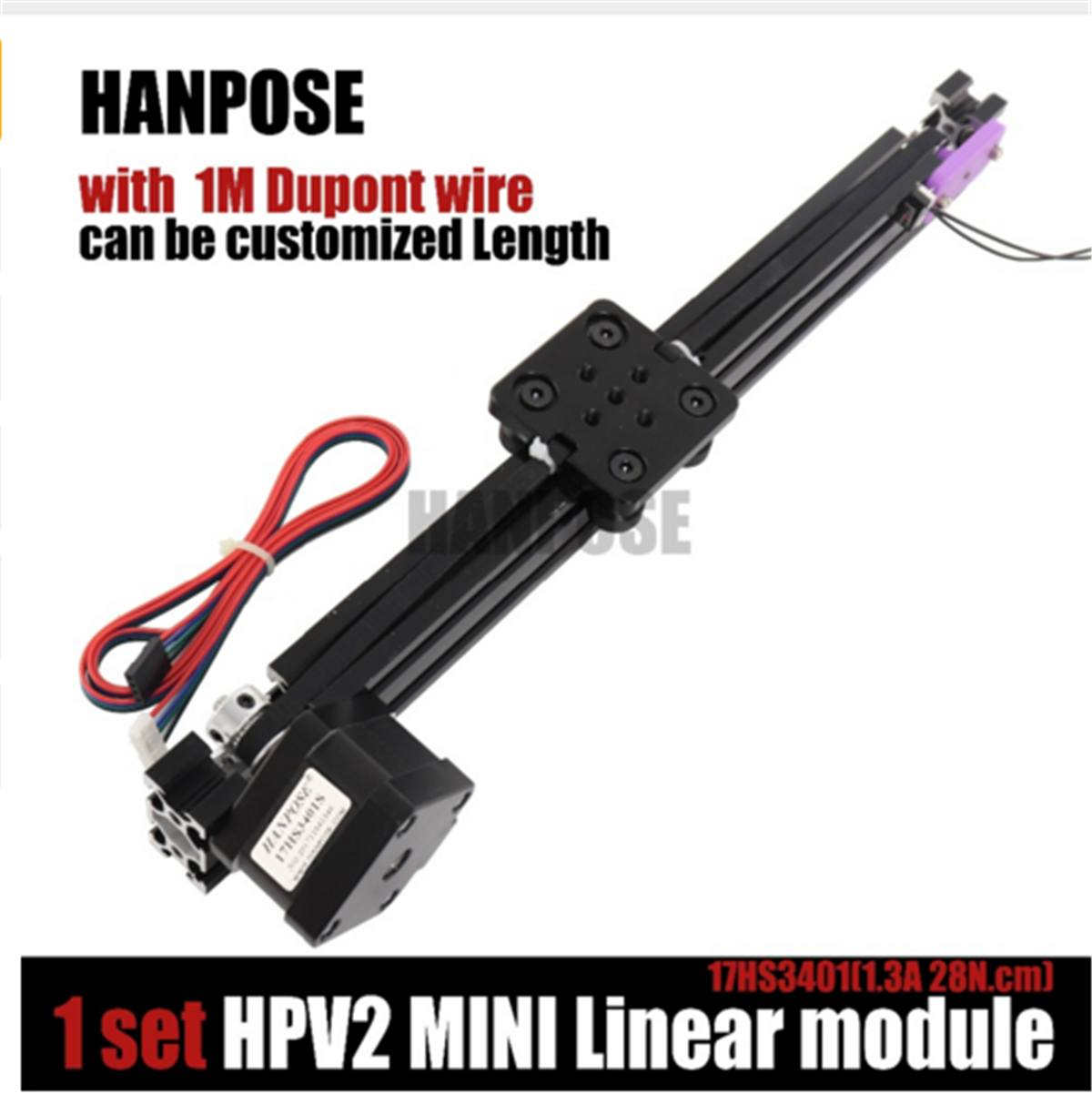 HPV2 Linear Guide Set Openbuilds V Linear Actuator Effective Travel 100-400mm Linear Module with 17HS3401S Stepper MotorHPV2 Linear Guide Set Openbuilds V Linear Actuator Effective Travel 100-400mm Linear Module with 17HS3401S Stepper Motor