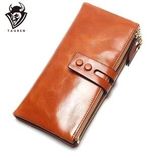 Image 1 - Portefeuilles cire dhuile pour femmes, portefeuille en cuir véritable féminin, fermeture éclair, porte monnaie à Long support pour téléphone, nouvelle mode 2020