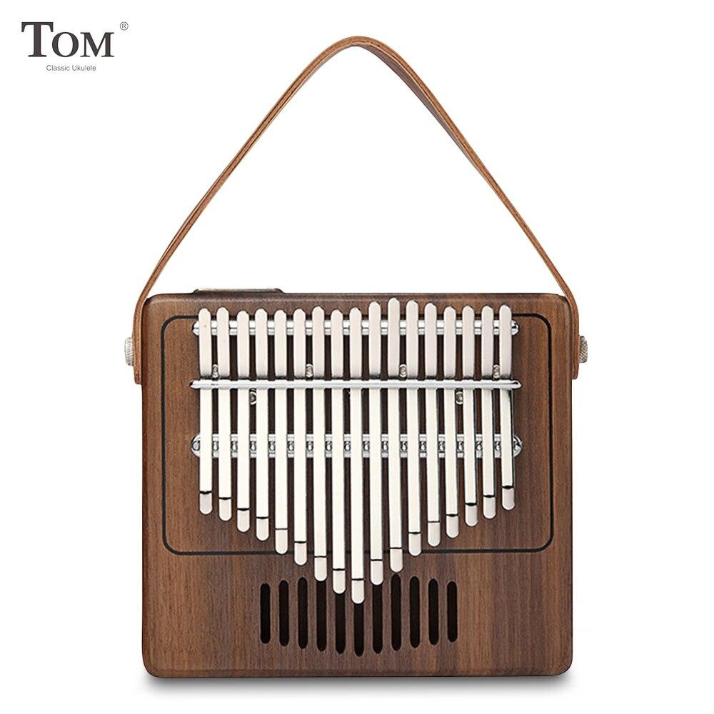 TOM TK-R1 Instrument de musique en bois de noyer avec pouce Kalimba à 17 touches