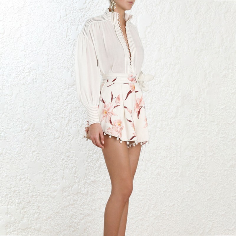 Twotwinstyle Élégante Haute Courte Imprimer D'été Cheveux 2019 Taille Picture As Grande Short De Femme Mini Femelle Mode Vêtements Ampoule Patchwork 0q07dzwrx