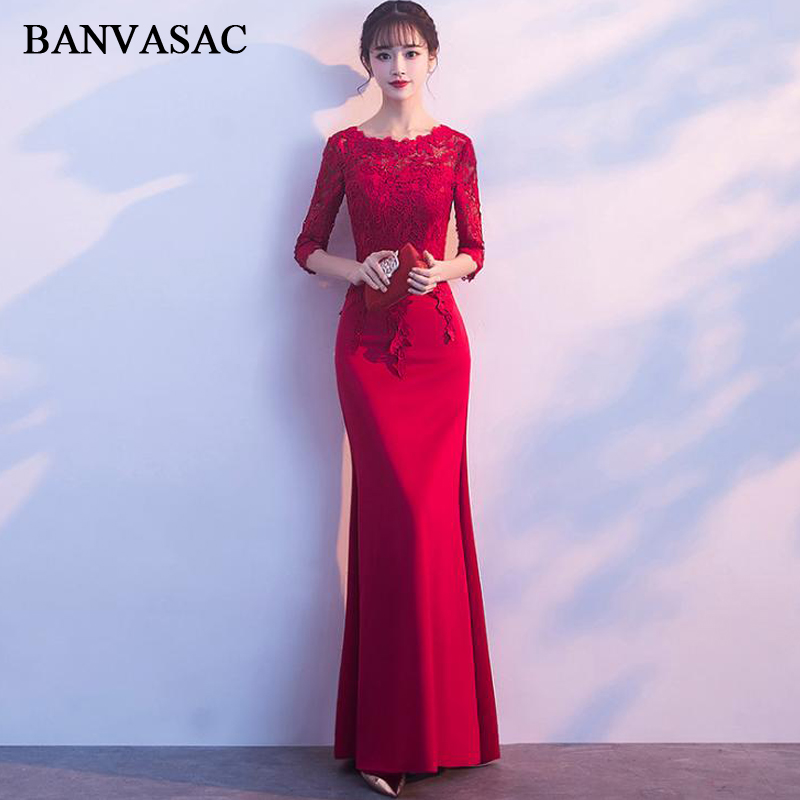 BANVASAC Lace Appliques O Neck Mermaid Long   Evening     Dresses   Party Three Quarter Sleeve Hollow Out Backless Prom Gowns