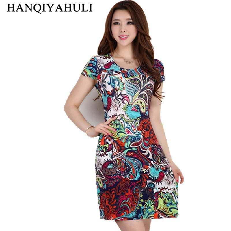 2019 Naiste kleit suvel Casual Plus Size Slim Tunic Piim Silk print Floral kleidid sexy bodycon sundress vestidos mujer