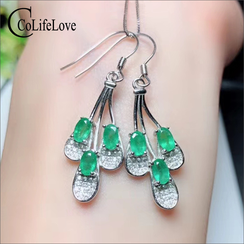 Elegant silver feature drop earrings with emerald natural emerald eardrop for wedding 925 silver emerald jewelry birthday giftElegant silver feature drop earrings with emerald natural emerald eardrop for wedding 925 silver emerald jewelry birthday gift