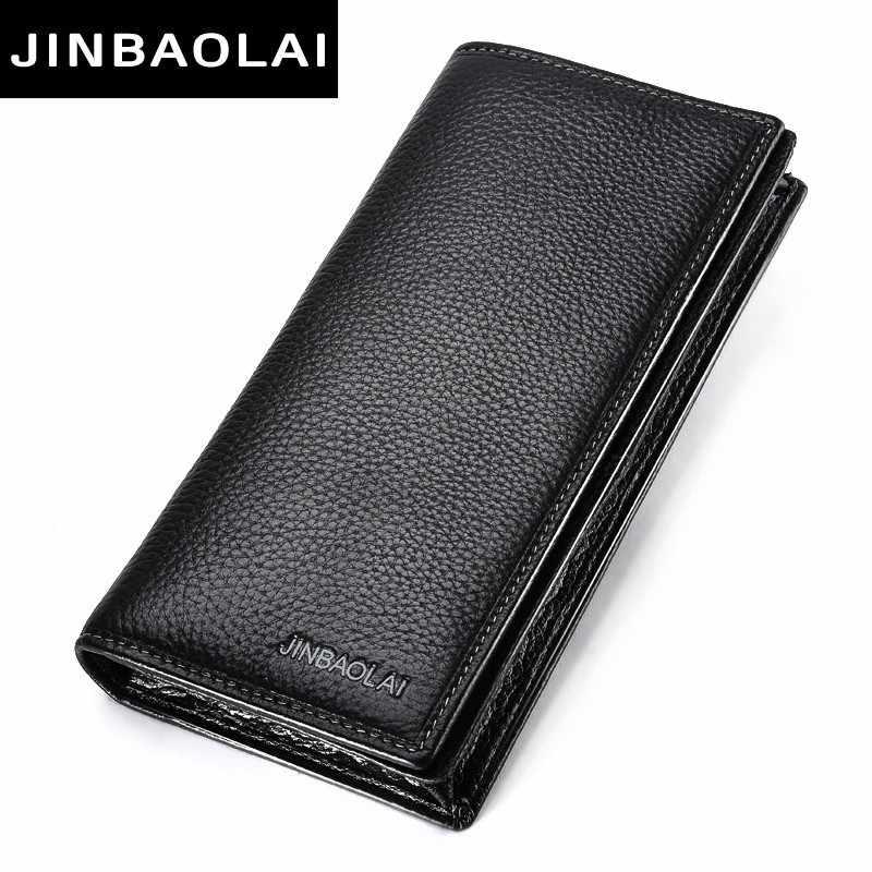 JINBAOLAI мужчины кошелек натуральной кожи давно сцепление бумажники для мужчин bifold кожаный бумажник мужчин слим кошелек моды мужчин медали в кармане кошельки