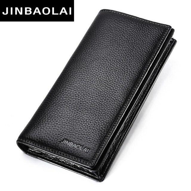 d2ce055b5 Jinbaolai marca hombres cartera de cuero genuino largas embrague carteras  para hombres de cuero de vaca