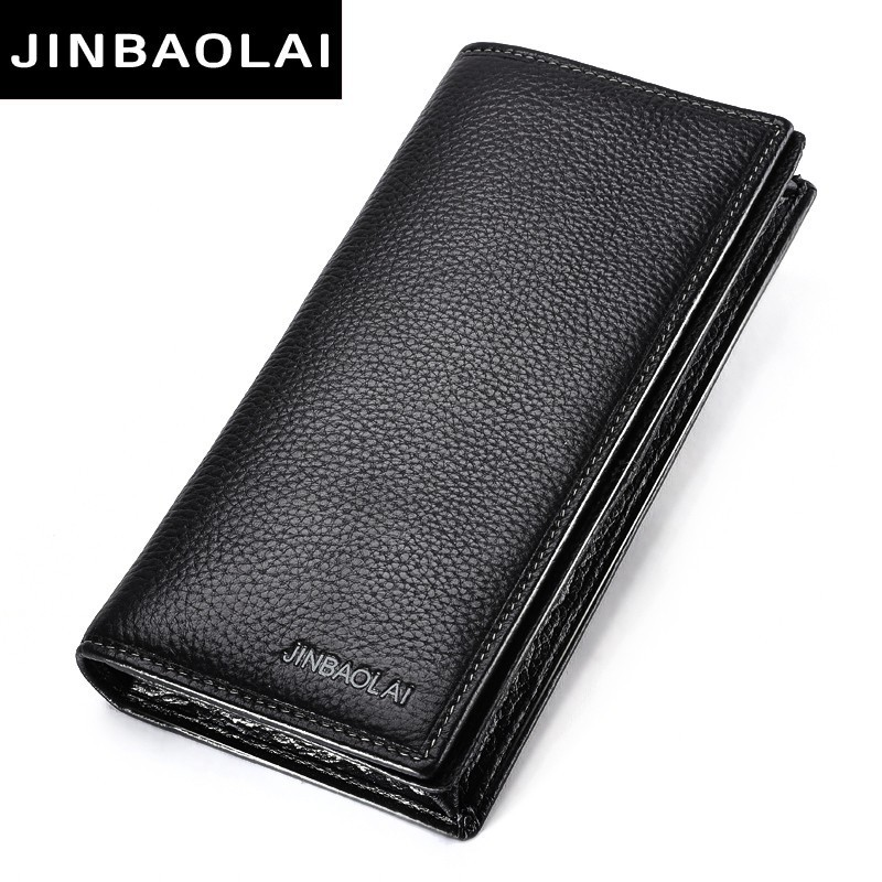 New Men Wallet Genuine Leather Long Clutch Wallets For Men Bifold Leather Wallet Men Slim Purse Fashion Male Coin Pocket Wallets