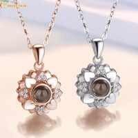 Amor romântico memória personalizado casamento colar 100 idiomas eu te amo projeção pingente colar 925 prata corrente jóias femininas