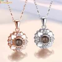 Romantique amour mémoire personnalisé collier de mariage 100 langues je t'aime Projection pendentif collier 925 argent chaîne femmes bijoux