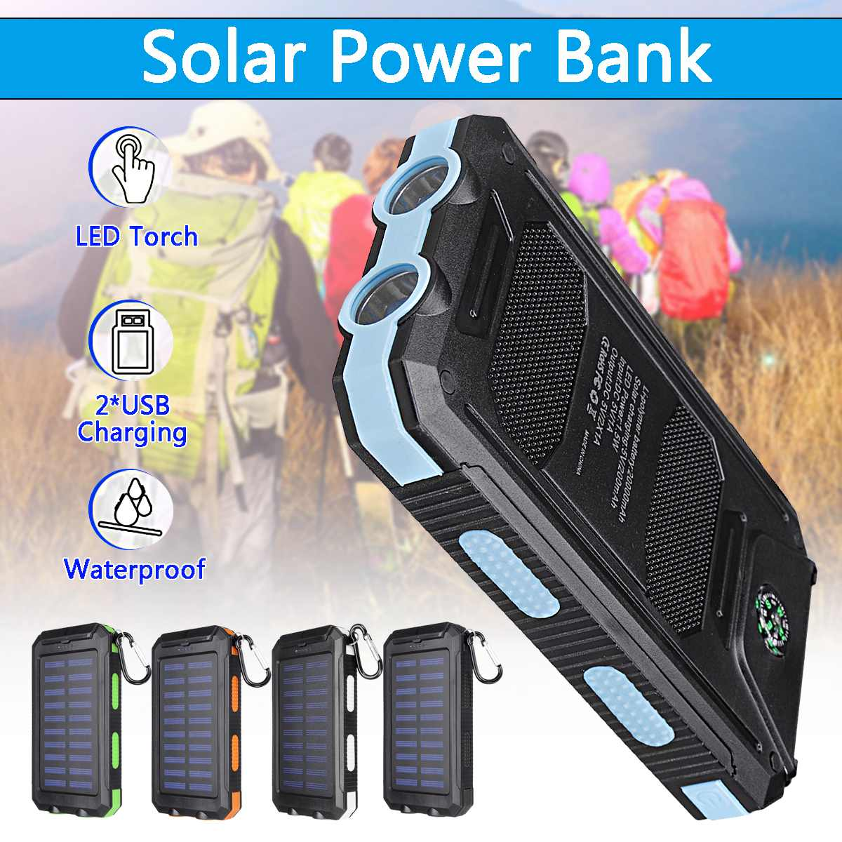 20000mAh Solar Charging Power Bank Portable Cell Phone Solar Charger with Dual USB Charging Ports LED Light Carabiner Compasses Mobile Phone Chargers    - AliExpress