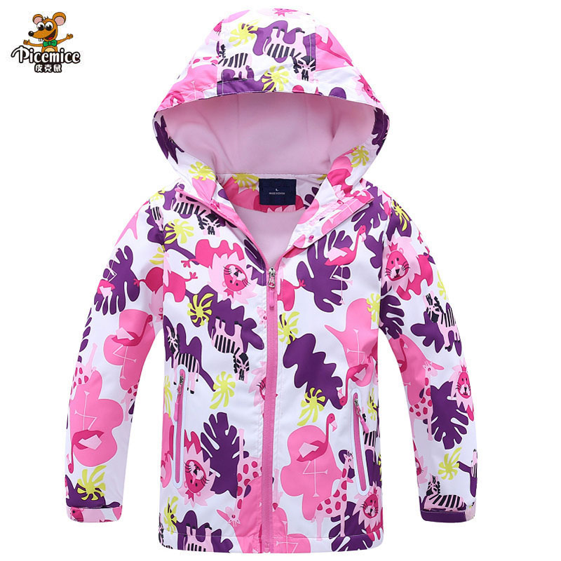 Girls Windbreaker Jacket For Child Clothing 2020 Brand Flower Polar Fleece Girls Outerwear Coat Spring Autumn 3-12T Kids Jackets
