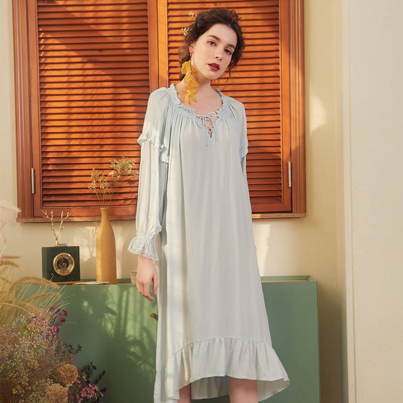 Home Dress Cotton Clothing Women   Nightgowns     Sleepshirts   Spring Dresses Princess Sweet Woman Nightwear Homewear