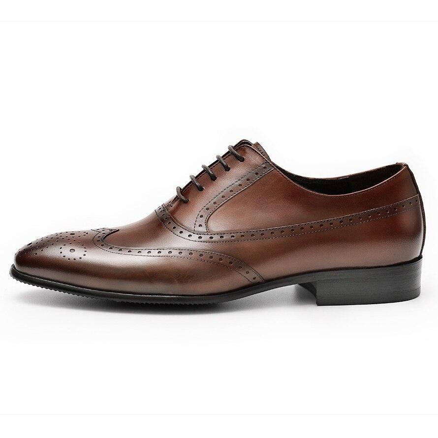 DESAI mannen Gesneden Echt Lederen Schoenen Handgemaakte Business Jurk Brogue Oxfords Schoenen Mannen Formele Bruine Schoen Grote Maat 37  44-in Formele Schoenen van Schoenen op  Groep 2