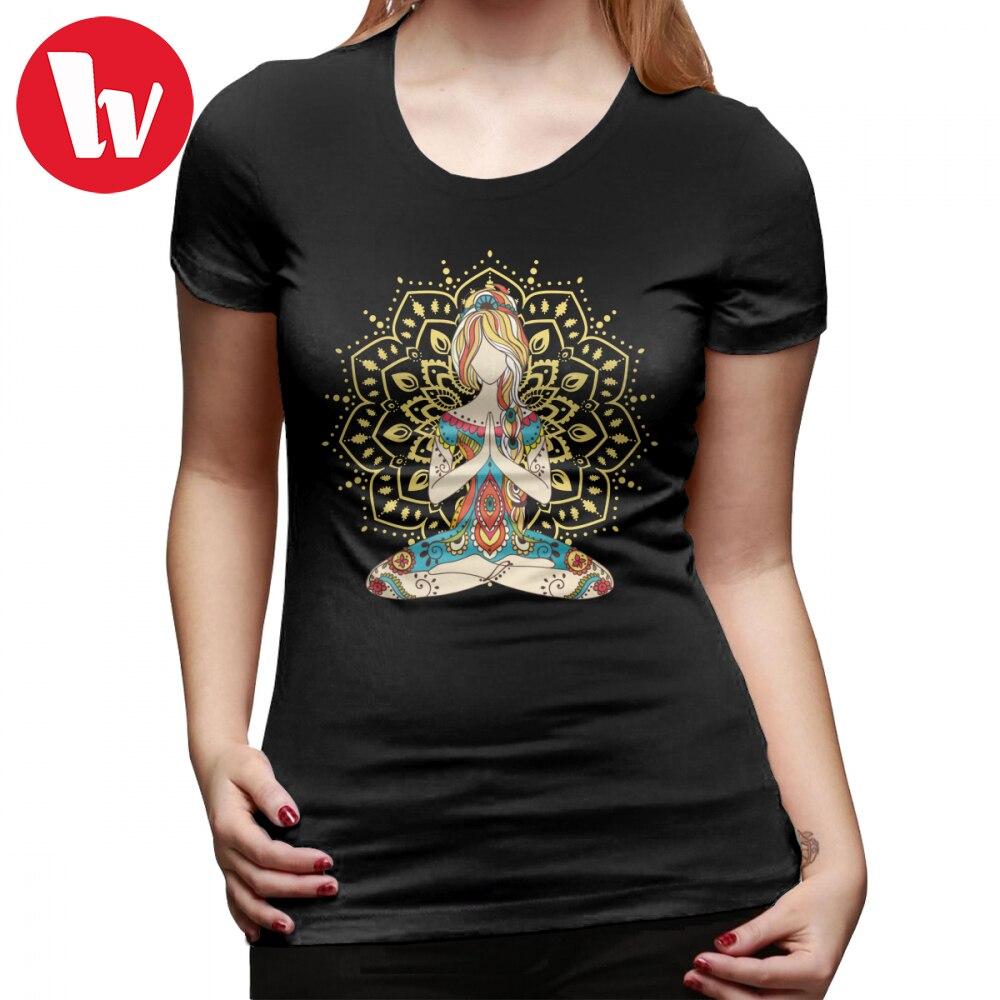 Hippie T-Shirt Om Chakras Mindfulness Meditation Zen 4 T Shirt Red Summer Women tshirt Simple Short-Sleeve Ladies Tee Shirt